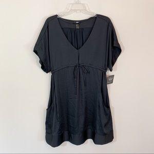 H&M • Black Satin Dress with Pockets Size 10